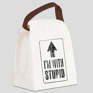 Vintage I'm With Stupid [u] Canvas Lunch Bag
